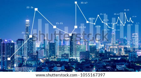 Business background with stock graph growth illustration on the city skyline view.