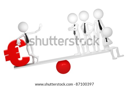 Business balance. Conceptual business illustration. Isolated on white