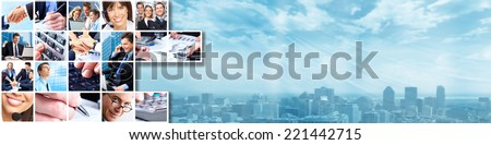 Business banner. Group of people working in the office collage