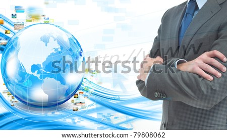 Business banner with world and businessman