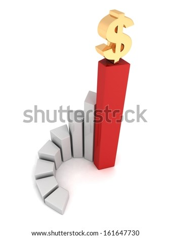 business bar chart with golden dollar symbol on top #161647730