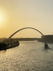 Business Bay Bridge Sunset Dubain Canal Yatch travelling