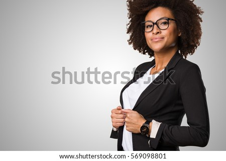 business black woman adjusting...