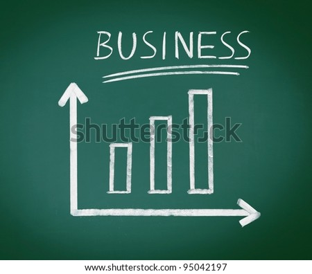 Business Blackboard illustration with geometric axes showing bar graphs