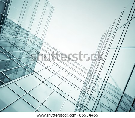 business blue construction from glass