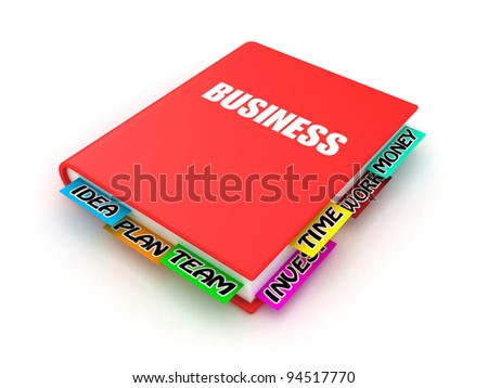 Business book with bookmarks on a white background