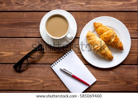 Business breakfast with coffee and croussant top view #585069460