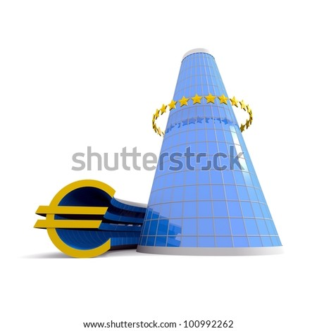 Business building with euro symbol