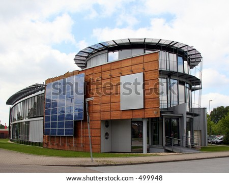 Business Building with Solar Panels