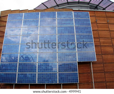Business Building with Solar Panels - Closeup