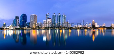business buildings area and office, cityscape at twilight panorama