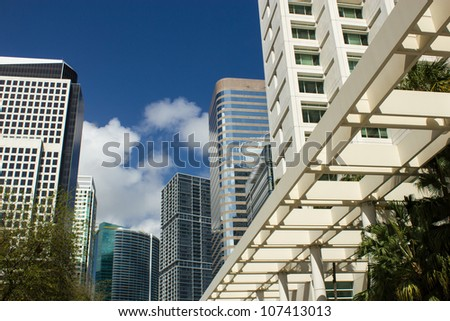 Business buildings in Miami Florida reaching for the sky, U.S.A.