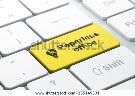 Business business concept: computer keyboard with Light Bulb icon and word Paperless Office, selected focus on enter button, 3d render
