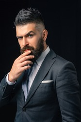Business businessman analyze finance. Power man and business. Finance market analyst working. Pensive businessman ready to biz work