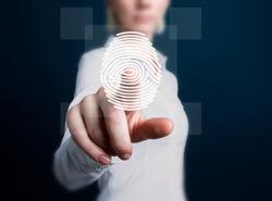 Business button fingerprint print security network.
