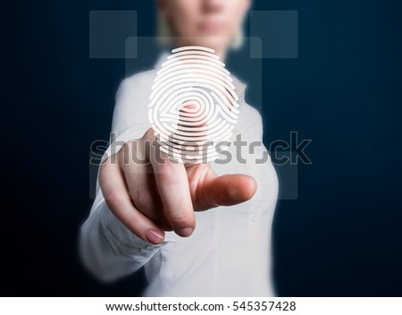 Business button fingerprint print security network.