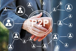 Business button p2p Peer-to-peer on background business partnership handshake concept. Two coworkers handshaking process of interaction.