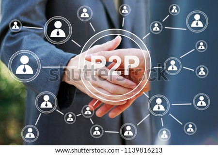 Business button p2p Peer-to-peer on background business partnership handshake concept. Two coworkers handshaking process of interaction. #1139816213