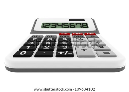 Business Calculator extreme closeup on a white background