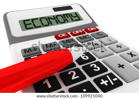 Business Calculator extreme closeup with Economy sign on a white background