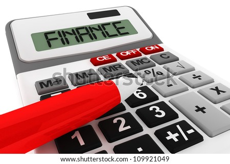 Business Calculator extreme closeup with finance sign on a white background
