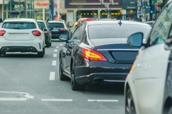 Business car in traffic on the road of Dusseldorf
