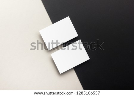 Business card blank on wooden background. Corporate Stationery, Branding Mock-up. Creative designer desk. Flat lay. Copy space for text #1285106557