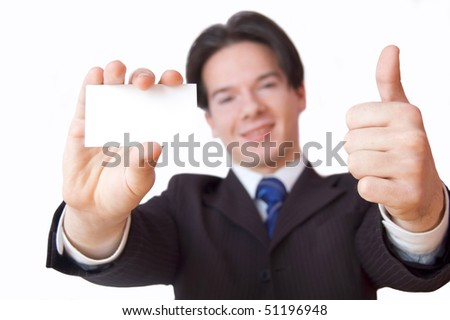Business card conceptual image. Businessman holding a blank business card.