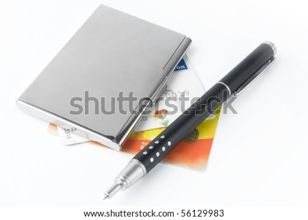 business card holder case with pen