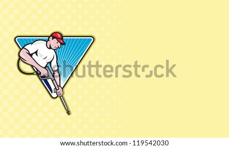Business card ideal for power washing contractor showing illustration of a worker with water blaster pressure power washing sprayer spraying set inside circle done in cartoon style.