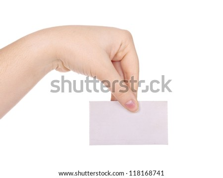 Business card in female hand isolated on white
