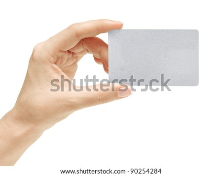 Business card in female hand. Studio isolated.With clipping path