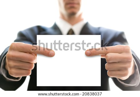 business card in hands of businessman