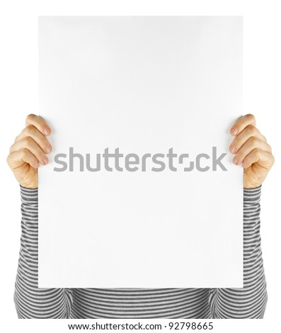 business card isolated in a hand on the white backgrounds