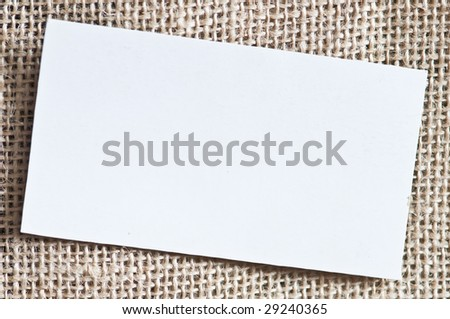 business card on fabric background