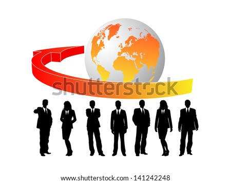 Business card with business people
