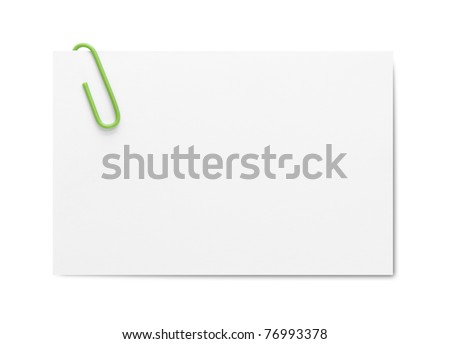 Business card with paper clip