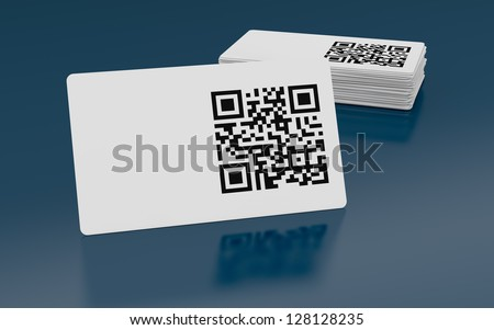 business card with qr code (3d render)
