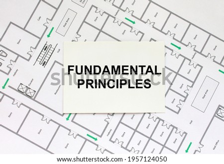 Business card with text Fundamental Principles on a construction drawing. Concept photo Сток-фото ©