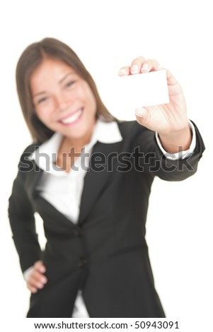 Business card woman. Businesswoman in her 20s showing blank sign isolated on white background.