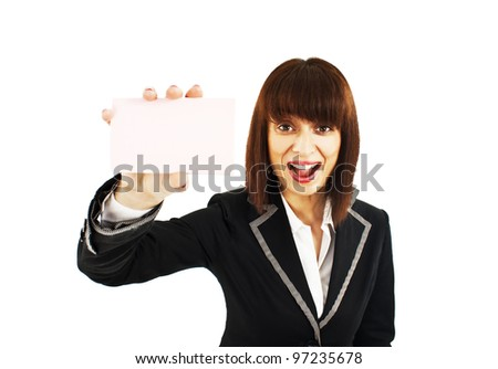 Business card woman. Businesswoman showing blank business card sign excited. Isolated on white background