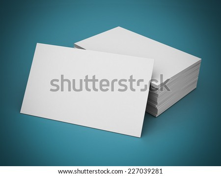 Business cards blank mockup - template - blue background