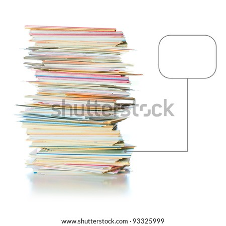 business cards with place for text near the pile, isolated over white