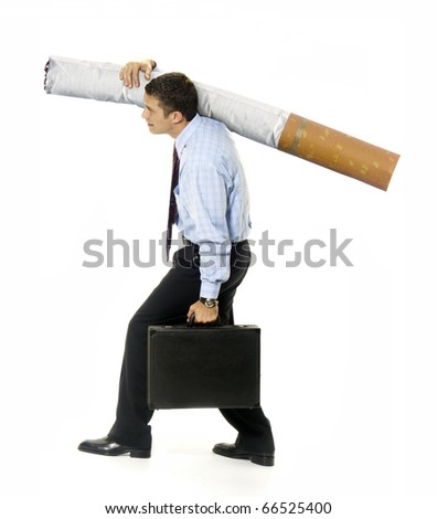 Business carrying the weight of a cigarette on white background.