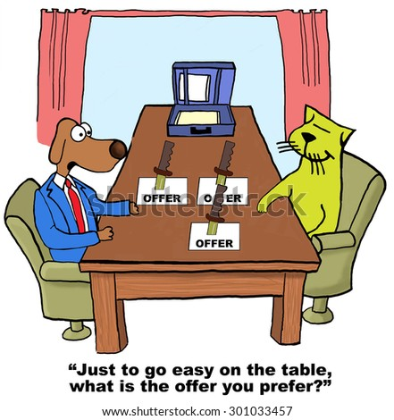Business cartoon showing business dog and cat in a meeting with three offers and a knife in each.  Business dog says to cat, \'just to go easy on the table, what is the offer you prefer?\'.