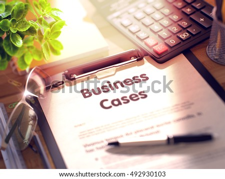 Business Cases. Business Concept on Clipboard. Composition with Clipboard, Calculator, Glasses, Green Flower and Office Supplies on Office Desk. 3d Rendering. Toned Illustration.