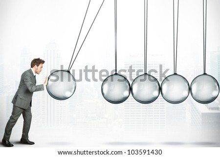 Business challenge concept with Newton cradle