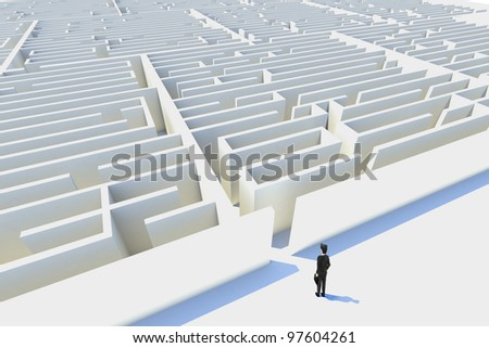 Business challenges,3d rendered. represented by a business man facing a maze showing the concept of challenges ant starting a journey using strategy and planning so you do not get lost.