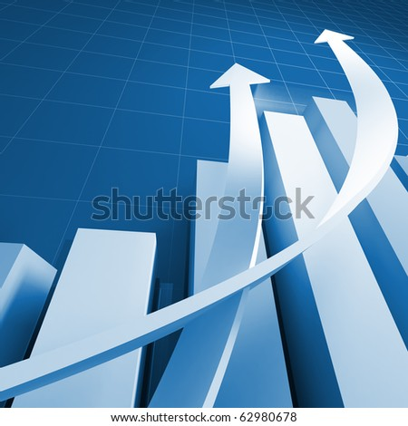 business chart graph background with growing arrows