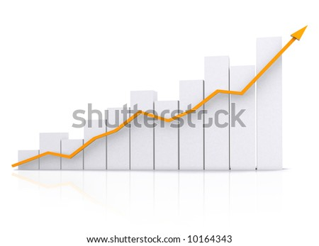 business chart in orange isolated over a white background